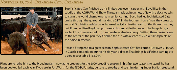 Cutting Horse Sophisticated Catt wins AQHA World Show in Oklahoma City